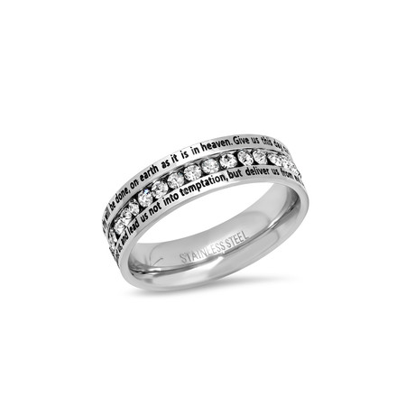 Stainless Steel + Simulated Diamond Ring // Silver (Size 9)