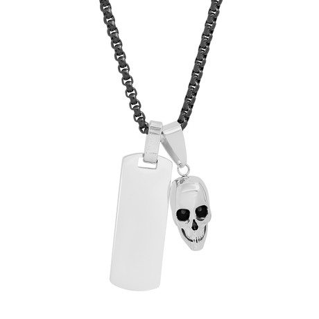 Skull + Dog Tag Necklace // Silver + Black
