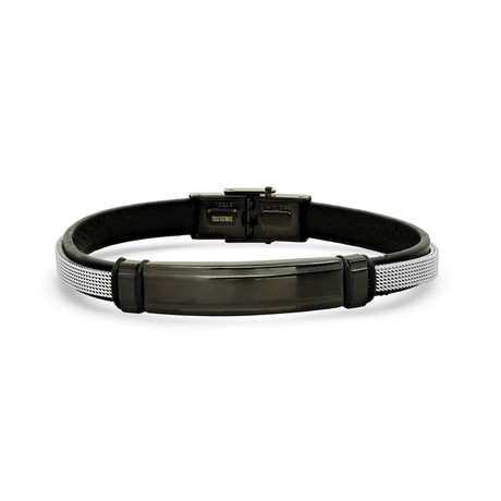 Leather + Mesh Bracelet // Black + Silver