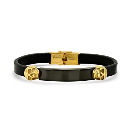 Skull ID Bracelet // Black + Gold