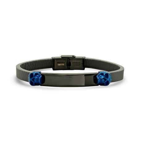 Skull ID Bracelet // Black + Blue