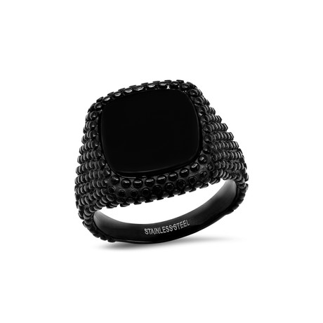 Stainless Steel + Simulated Onyx Ring // Black (Size 9)