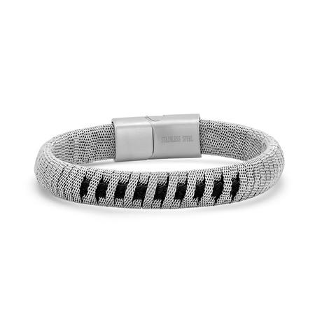 Mesh + Braided Leather Bracelet // Silver + Black