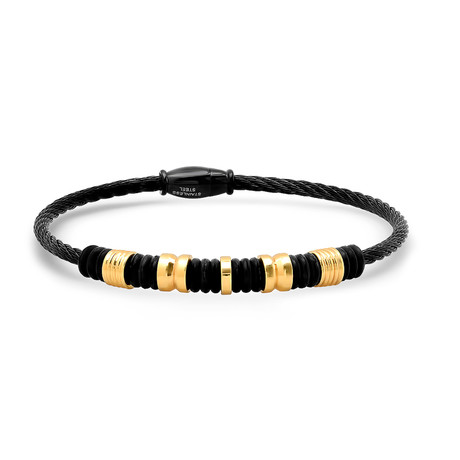 Two-Tone Wire Cable Bracelet // Black + Gold