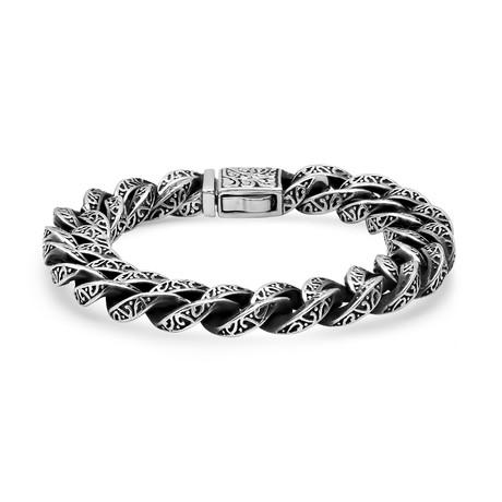 Stainless steel Cuban Bracelet // Silver