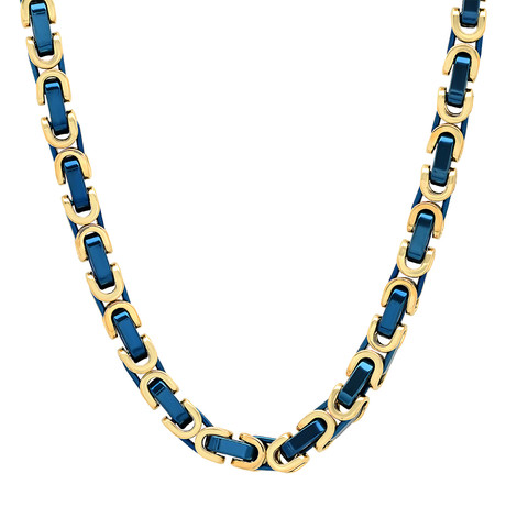 Two-Tone Necklace // Gold + Blue