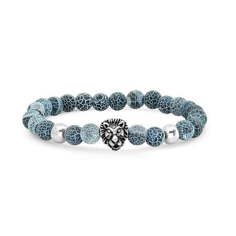 Beaded Bracelet // Blue + Silver