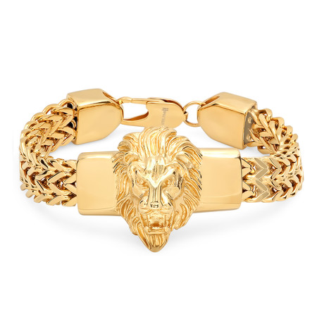 Stainless Steel Lion Head Box Chain Bracelet // Gold
