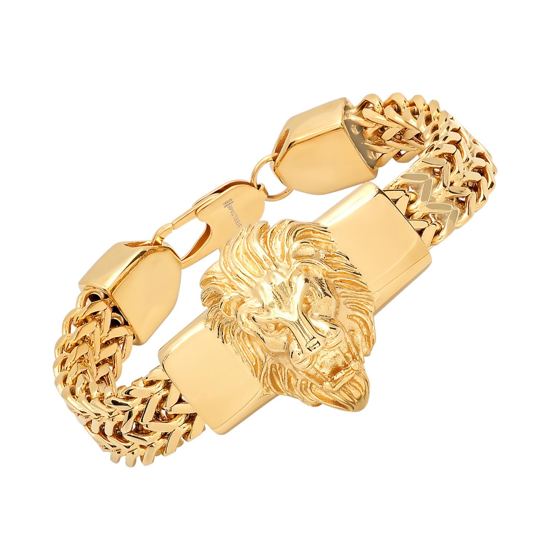 Stainless Steel Lion Head Box Chain Bracelet // Gold - HMY ...