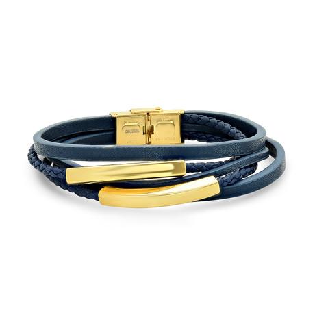 Layered Leather + Steel Bracelet // Blue + Gold