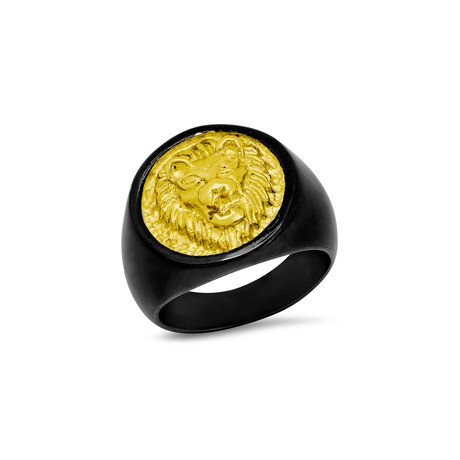 Two-Tone Lion Face Ring // Black + Yellow (Size 9)