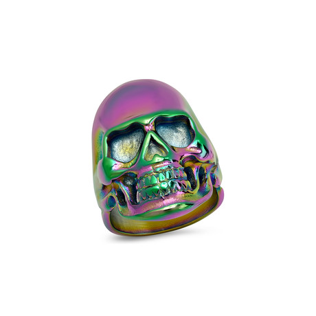 Stainless Steel Skull Ring // Multicolor (Size 9)