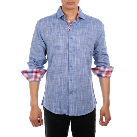 Lim Long Sleeve Button Up Shirt // Blue (XS)