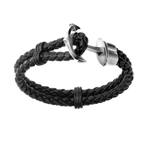 Braided Leather Anchor Bracelet // Silver