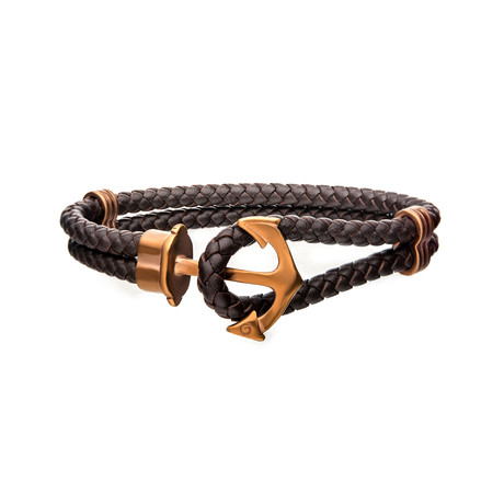 Braided Leather Anchor Bracelet // Cappuccino