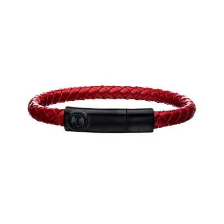 Anchor Bar Bracelet // Red + Black