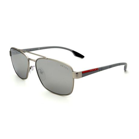Prada Sport // Men's PS51US-QFP2B0 Square Aviator Sunglasses // Silver