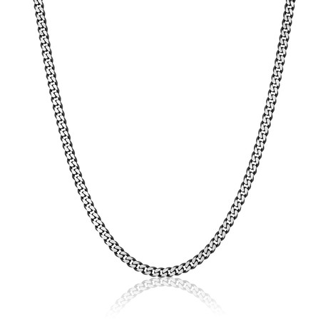 Brushed Stainless Steel Diamond Cut Necklace // 5.5mm // Black