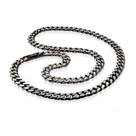 "Stainless Steel Black Ion Plated Pave Cuban Link Chain // 15mm // Silver (24"")"