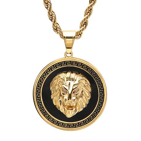 Greek Key Lion Head Pendant Necklace // Gold + Black