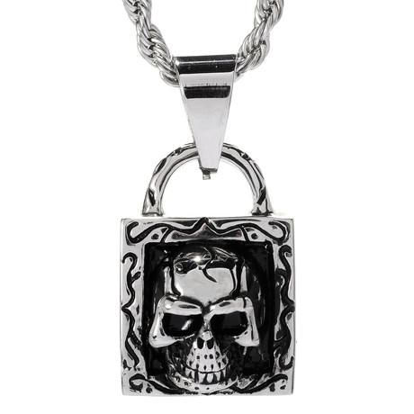Skull Lock Pendant Necklace // Silver