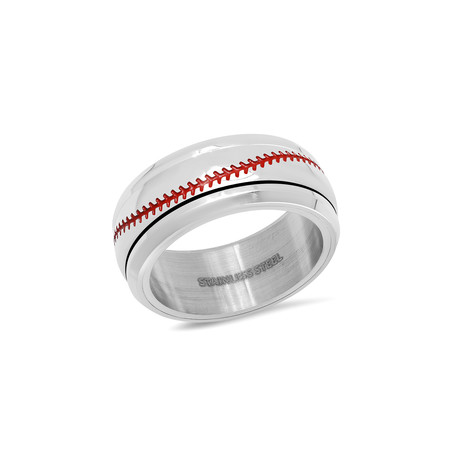 Stainless Steel Baseball Ring // Silver + Red (Size 9)