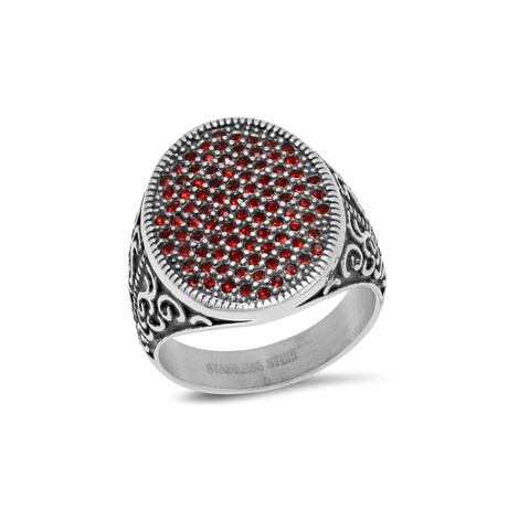 Stainless Steel Ring // Silver + Red (Size 9)