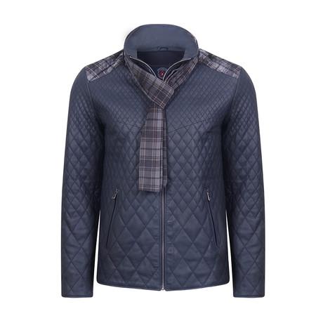 Suruc Leather Jacket // Navy Tafta (2XL)
