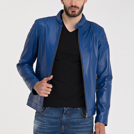 Omer Leather Jacket // Blue (M)