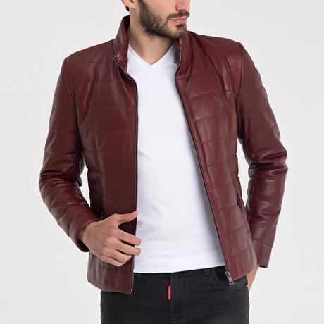 Emirhan Leather Jacket // Bordeaux (L)