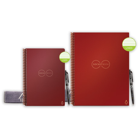 Rocketbook Core // Lined Notebook Bundle // 1 Letter Size + 1 Executive Size // Scarlet Sky Cover