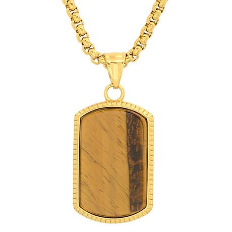 Dog Tag Pendant Necklace // 18K Yellow Gold Plating + Tiger Eye