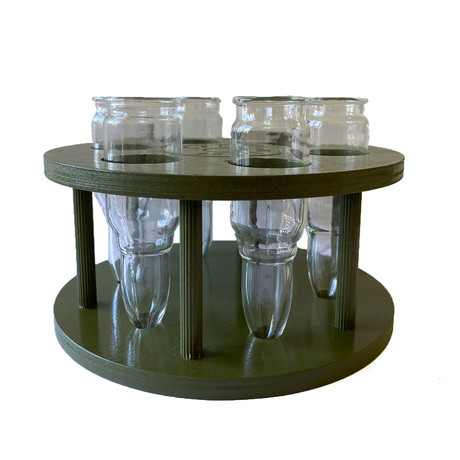 Bullet Caliber 35 + Wood Stand // Set of 6 Glasses