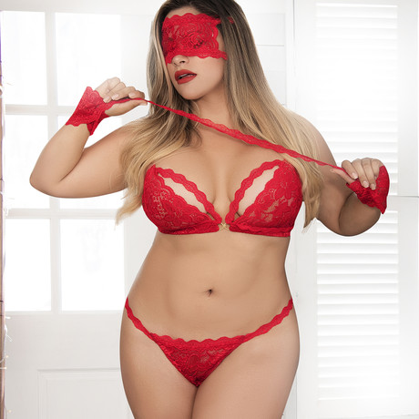 Sloane 4-Piece Set // Red // Plus Size (1X-2X)