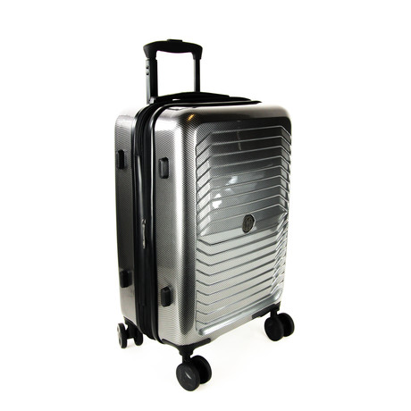 Carbon Fiber Print Carry-On Luggage // Gray