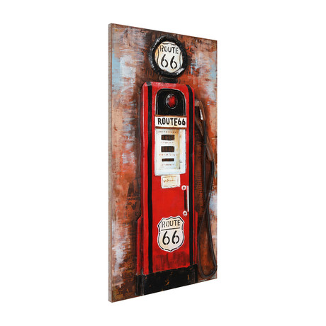 Gas Pump // Mixed Media Iron Hand Painted Dimensional Wall Art