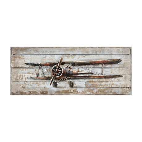Model Airplane // Rugged Wooden Blocks Wall Art