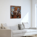 Biking // Mixed Media Iron Hand Painted Dimensional Wall Art