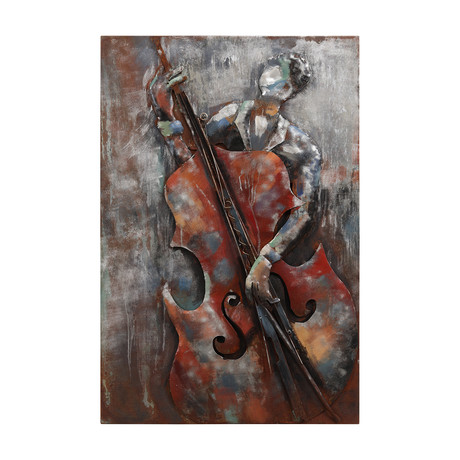 The Bassist // Mixed Media Iron Hand Painted Dimensional Wall Art
