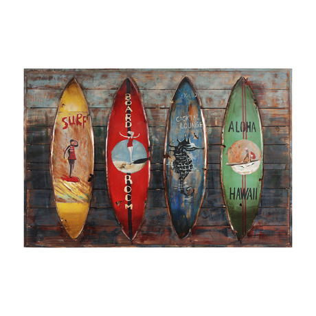 Canoes // Iron Wall sculpture + Wooden Wall Art