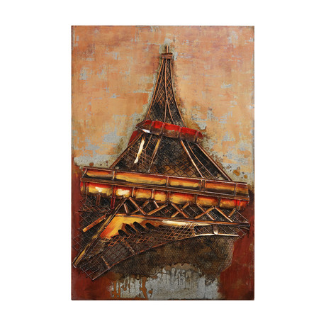 Eiffel Tower 1 // Mixed Media Iron Hand Painted Dimensional Wall Art