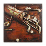 TeeTime // Mixed Media Iron Hand Painted Dimensional Wall Art