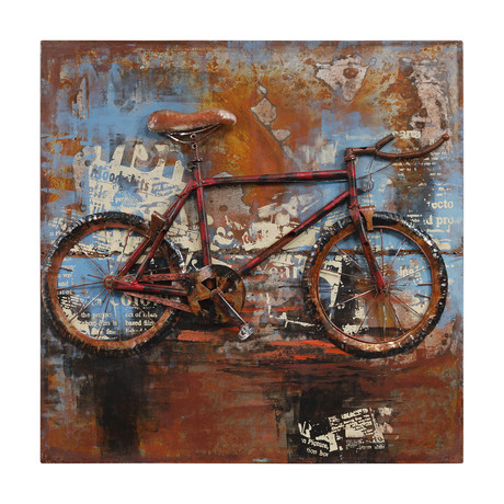 Biking // Mixed Media Iron Hand Painted Dimensional Wall Art