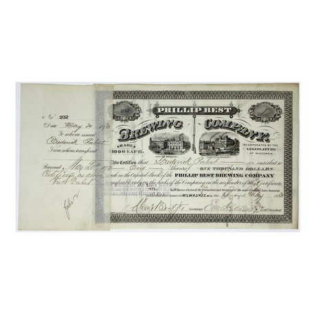 """1873 Frederick Pabst (""""Pabst Blue Ribbon"""") Signed Phillip Best Brewing Company Stock Certificate & Print (Signature Certified)"""
