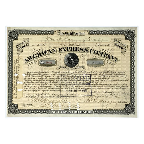 1884 American Express Company Stock Certificate Signed by President James C. Fargo (Signature Certified)