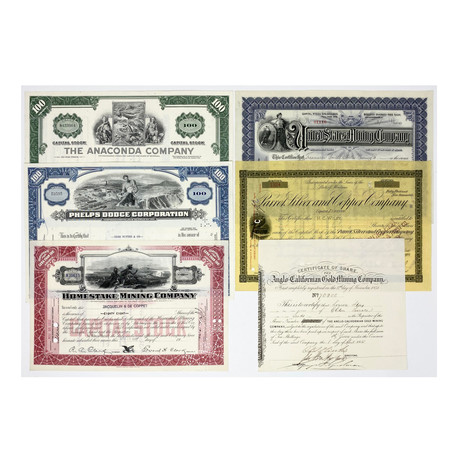 Mining Collection: Set of 6 American Mining Company Stock Certificates (1850s - 1970s)