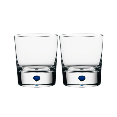 Intermezzo Double Old Fashioned Glass // Blue // Set of 2