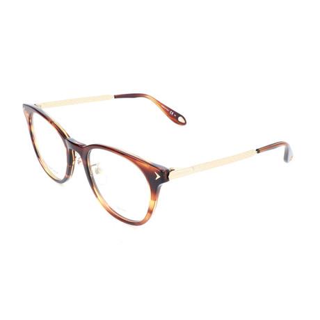 Men's GV-0086 Optical Frames // Striped Brown + Gold