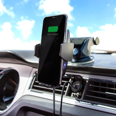 ChargeHub Auto Phone Mount + Wireless Charger // Black