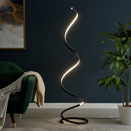 Modern Spiral Floor Lamp // LED Strip (Silver)